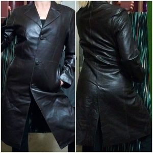 Soft Genuine Lambskin Buttoned Trenchcoat Dk Brown